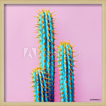 Set Neon Cactus. Minimal creative stillife Indrammet plakat