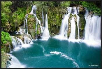 Waterfalls of Martin Brod on Una national park, Bosnia and Herzegovina Indrammet plakat