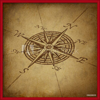 Compass rose in perspective with grunge texture Indrammet plakat