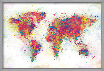 Indrammet plakat World Map - Colour Splash