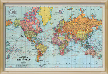 Indrammet plakat Stanfords General Map Of The World - Colour