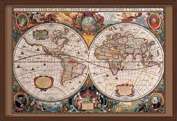 Indrammet plakat World Map - 17th Century