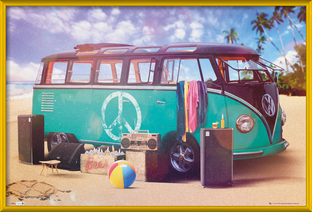 VW Volkswagen Camper - party Plakat