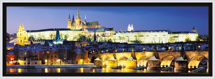 Prague – Prague castle & Charles bridge at night Plakat